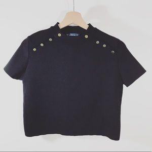 Zara Tops - Zara • LIKE NEW Cropped Knit Mock Neck Top